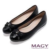 MAGY 清新氣質系女孩 織帶蝴蝶結雙皮質拼接娃娃鞋-黑色