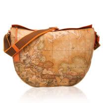 Alviero Martini 義大利地圖包 流蘇拉鍊肩背包(大)-地圖黃/紅