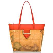Alviero Martini 義大利地圖包 方扣配飾手提肩背購物包-地圖黃/紅