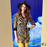 【YIDIE 衣蝶】小立領珠飾豹紋七分袖罩衫