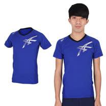 (男) ASICS 款排球練習短袖T恤 - 健身 路跑 慢跑 休閒 亞瑟士 藍銀