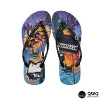 【QWQ】創意設計夾腳拖鞋-Music-黑(無鑽)
