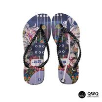 【QWQ】創意設計夾腳拖鞋-旋的律動-黑(無鑽)