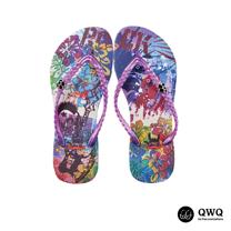 【QWQ】創意設計夾腳拖鞋-骷髏頭音樂風-紫(無鑽)