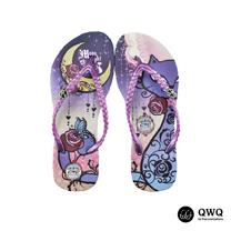 【QWQ】創意設計夾腳拖鞋-Moon Night&Cat-紫(無鑽)