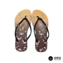 【QWQ】創意設計夾腳拖鞋-彩蝶-咖啡(無鑽)