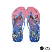 【QWQ】創意設計夾腳拖鞋-蝶之花-藍(無鑽)