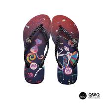 【QWQ】創意設計夾腳拖鞋-魔幻異境-黑(無鑽)