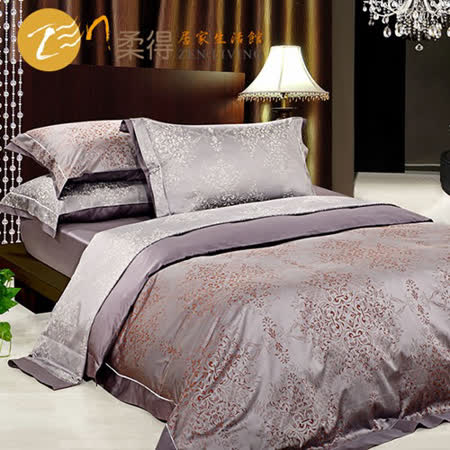 【柔得寢飾】ZJA33皇家風華 雙人緞紋埃及棉四件式床包組(灰)