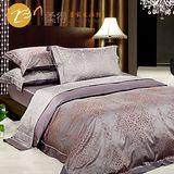 【柔得寢飾】ZJA33皇家風華 加大緞紋埃及棉四件式床包組(咖啡)