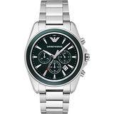 Emporio Armani Classic 雅爵計時錶-綠x銀/44mm AR6090