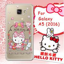 三麗鷗SANRIO正版授權 Hello Kitty Samsung Galaxy A5 (2016)   水鑽系列透明軟式手機殼(花花凱蒂)