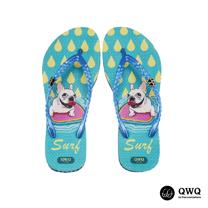 【QWQ】創意設計夾腳拖鞋-Surf-藍(無鑽)