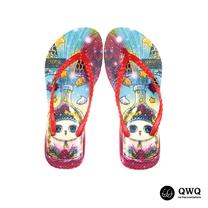 【QWQ】創意設計夾腳拖鞋-Cat In A Bottle-紅(無鑽)