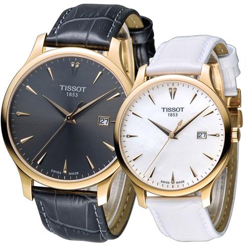 天梭 TISSOT Tradition系列 懷舊對錶 T0636103608600 T06