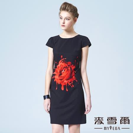 【麥雪爾】圓領數位玫瑰印花短洋裝