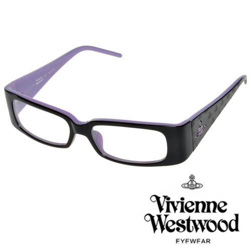 Vivienne Westwood 英國薇薇安魏斯伍德英倫搖滾★立體土星壓紋光學眼鏡(黑+紫)VW11602