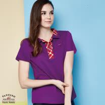 【FANTINO】女裝 速吸排汗+抗UV 拼接格紋polo衫 (紫) 571103