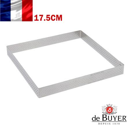 法國【de Buyer】畢耶烘焙『法芙娜不鏽鋼氣孔塔模系列』方形帶孔17.5公分塔模