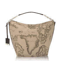 Alviero Martini 義大利地圖包 拉鍊短肩背水餃包-地圖灰