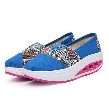 ALicE (預購)Y1020-5 輕盈彈力民族風格拼接健走鞋 -藍