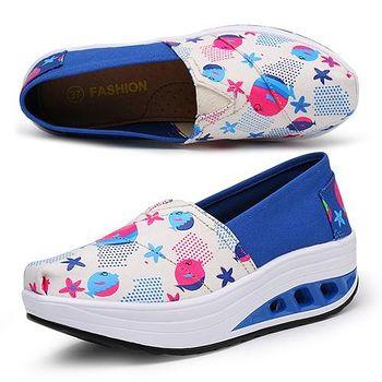 ALicE (預購)Y1027-5 普普風亮麗色彩氣墊式健走鞋 -藍