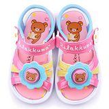 童鞋城堡-拉拉熊 中童 小花造型電燈涼鞋KM3957-粉