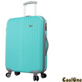 CoolOne 時尚舒活直條紋24吋飛機輪旅行箱(藍色)
