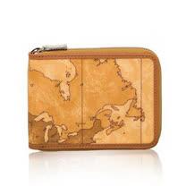 Alviero Martini 義大利地圖包 男用拉鍊3卡零錢短夾-地圖黃