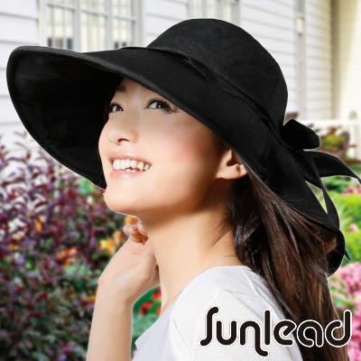 Sunlead 名媛款。可塑型寬帽緣防曬護頸透氣遮陽帽 (黑色)
