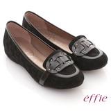 【effie】樂活時尚 全真皮閃亮穿帶內增高平底鞋(黑)
