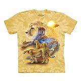 【摩達客】(預購) 美國進口The Mountain 日落獵豹 純棉環保短袖T恤