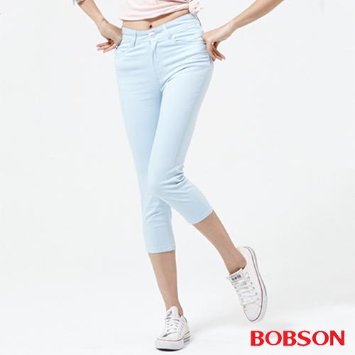 BOBSON 女款高腰膠原蛋白七分褲~ 天空藍222~50