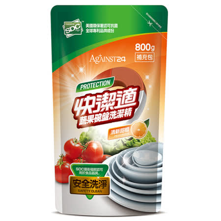 【快洁适】蔬果碗盘洗洁精-清新甜橙 补充包 800g