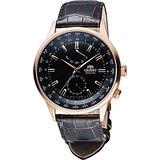 ORIENT 東方錶 WORLD TIME系列世界時間機械錶-黑x咖啡/44mm SFA06001B