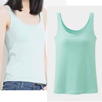 【Fayette 費伊特】(S~XL)彈力冰涼綿料 無鋼圈罩杯BRA帶胸墊 舒適寬背心打底衫-綠