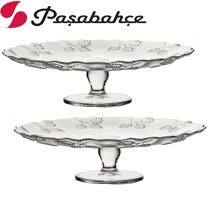 土耳其Pasabahce高腳雕花水果點心盤-中-二入組