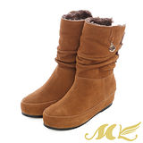 MK-全真皮-麂皮抓皺金屬釦內增高中筒雪靴-棕色