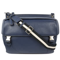 BALLY 經典LOGO荔枝皮革雙色織帶斜背包.深藍