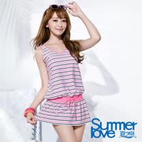 【SUMMERLOVE 夏之戀】粉紅甜心連身裙二件式泳衣(S16721)