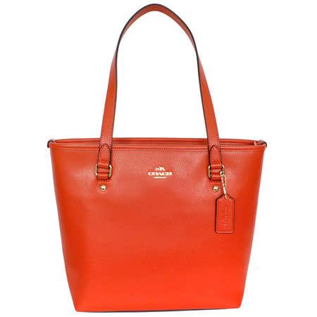 COACH 橘紅防刮全皮文字飾牌後拉鍊袋肩背方包
