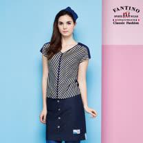 【FANTINO】女款 V領多彩斜條紋修身80支雙絲光棉上衣 (紫橘條紋) 571109