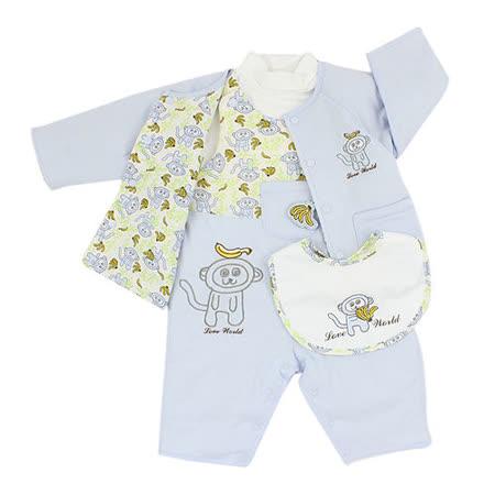 【愛的世界】LOVEWORLD 小猴子系列舖棉背心衣連褲禮盒/6個月~2歲-台灣製-