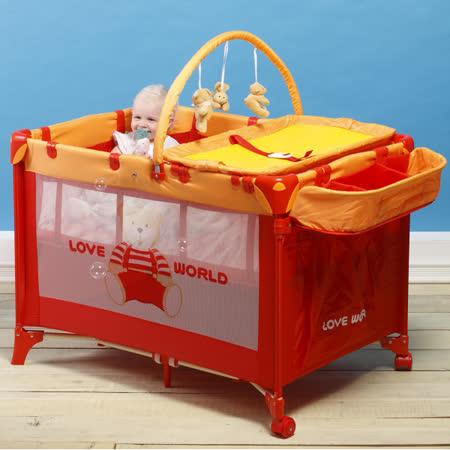 【愛的世界】LOVEWORLD 可攜式多功能豪華型嬰兒遊戲床-台灣製-