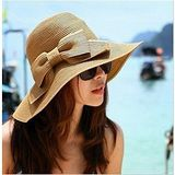 【Kate Classic 】Lady超大蝴蝶結沙灘可折疊大草帽遮陽帽AS09