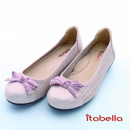 itabella.舒適Q軟羊皮洞洞包鞋(粉色)