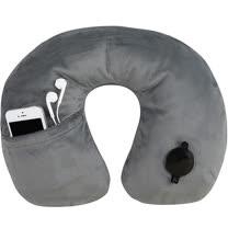 《TRAVELON》絨布音樂護頸充氣枕(灰)