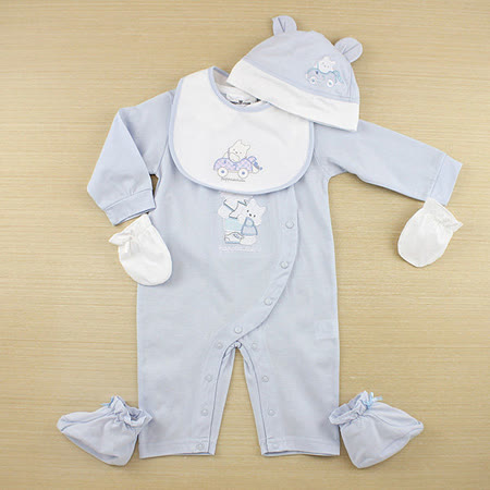 【愛的世界】pappa&ciccia 狗狗郊遊系列娃娃領衣連褲禮盒/6個月~1歲-台灣製-