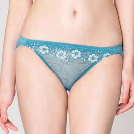 【思薇爾】戀衣蝶舞系列M-XL蕾絲低腰三角內褲(夜藍色)