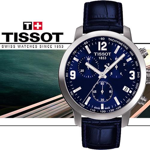 TISSOT PRC 200 競速 三眼計時男用皮帶腕錶~藍 42mm T05541716